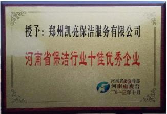 河南省保洁行业十佳优秀企业